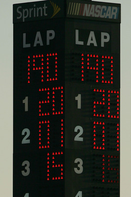 TALLADEGA, AL - OCTOBER 05:  The scoring pylon shows 1st place finish being awarded to Tony Stewart, driver of the #20 Subway/Home Depot Toyota, 2nd place to Regan Smith, driver of the #01 DEI/The Principal Financial Chevrolet, and 3rd place to Paul Menar