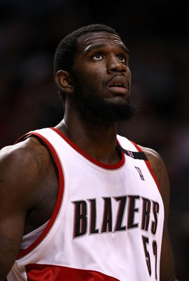 PORTLAND, OR - NOVEMBER 19:  Greg Oden #52 of the Portland Trail Blazers rests during the game against the Chicago Bulls at the Rose Garden on November 6, 2008 in Portland, Oregon.  NOTE TO USER: User expressly acknowledges and agrees that, by downloading