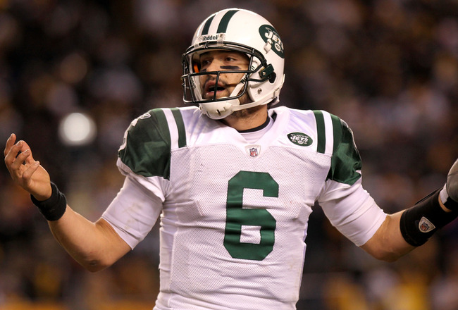 PITTSBURGH, PA - JANUARY 23:  Mark Sanchez #6 of the New York Jets reacts during their 2011 AFC Championship game against the Pittsburgh Steelers at Heinz Field on January 23, 2011 in Pittsburgh, Pennsylvania.  (Photo by Nick Laham/Getty Images)