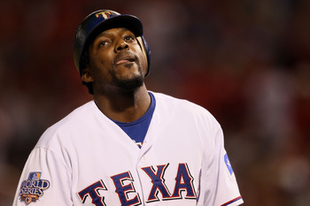 ARLINGTON, TX - OCTOBER 31:  Vladimir Guerrero #27 of the Texas Rangers reacts after he struck out in the seventh inning against the San Francisco Giants in Game Four of the 2010 MLB World Series at Rangers Ballpark in Arlington on October 31, 2010 in Arl