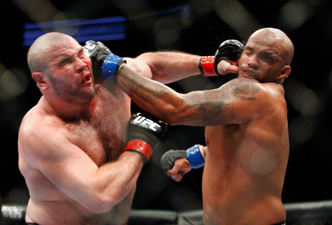MONTREAL- MAY 8: Joey Beltran and Tim Hague exchange blows in their heavyweight bout at UFC 113 at Bell Centre on May 8, 2010 in Montreal, Quebec, Canada.  (Photo by Richard Wolowicz/Getty Images)