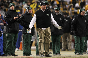 PITTSBURGH, PA - JANUARY 23:  Head coach Rex Ryan of the New York Jets reacts against the Pittsburgh Steelers during the 2011 AFC Championship game at Heinz Field on January 23, 2011 in Pittsburgh, Pennsylvania.  (Photo by Al Bello/Getty Images)