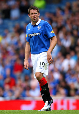 GLASGOW, UNITED KINGDOM - AUGUST 14: James Beattie of Rangers in action during the Clydesdale Bank Scottish Premier League match between Glasgow Rangers and Kilmarnock at  Ibrox Stadium on August 14, 2010 in Glasgow, Scotland. (Photo by Ian MacNicol/Getty