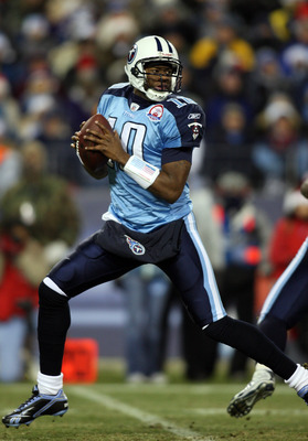 NASHVILLE, TN - DECEMBER 25: Vince Young #10 of the Tennessee Titans drops back to pass against the San Diego Chargers on December 25, 2009 at LP Field in Nashville, Tennessee. (Photo by Rex Brown/Getty Images)