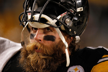 PITTSBURGH, PA - JANUARY 23:  Brett Keisel #99 of the Pittsburgh Steelers looks on against the New York Jets during the 2011 AFC Championship game at Heinz Field on January 23, 2011 in Pittsburgh, Pennsylvania.  (Photo by Gregory Shamus/Getty Images)