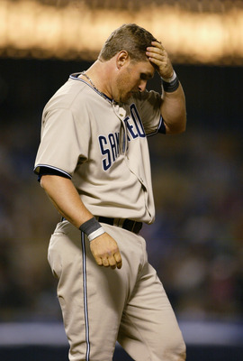 LOS ANGELES - APRIL 6:  First basemen Phil Nevin #23 of the San Diego Padres reacts during the game against the Los Angeles Dodgers on April 6, 2004 at Dodger Stadium in Los Angeles, California.  The Dodgers won 5-4. (Photo by Doug Benc/Getty Images)