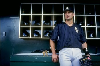 17 Aug 1998:  Robin Ventura #23 of the Chicago White Sox  stands in the dug-out as he looks at the field during the game against the California Angels at Edison Field in Anaheim, California.  The Angels defeated the White Sox 7-2. Mandatory Credit: Donald