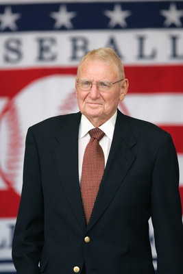 COOPERSTOWN, NY - JULY 31: Hall of Famer George Kell attends the Baseball Hall of Fame Induction ceremony on July 31, 2005 at the Clark Sports Complex in Cooperstown, New York.  (Photo by Ezra Shaw/Getty Images)