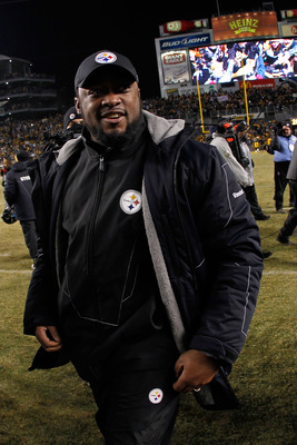 PITTSBURGH, PA - JANUARY 23:  Head coach Mike Tomlin of the Pittsburgh Steelers celebrates their 24 to 19 win over the New York Jets in the 2011 AFC Championship game at Heinz Field on January 23, 2011 in Pittsburgh, Pennsylvania.  (Photo by Gregory Shamu