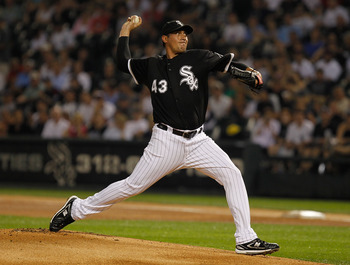 CHICAGO - JULY 07: Starting pitcher Freddy Garcia #43 of the Chicago White Sox delivers the ball against the Los Angeles Angels of Anaheim at U.S. Cellular Field on July 7, 2010 in Chicago, Illinois. The White Sox defeated the Angels 5-2. (Photo by Jonath
