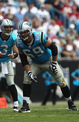 CHARLOTTE, NC - OCTOBER 24:  Jordan Gross #69 of the Carolina Panthers against the San Francisco 49ers during their game at Bank of America Stadium on October 24, 2010 in Charlotte, North Carolina.  (Photo by Streeter Lecka/Getty Images)