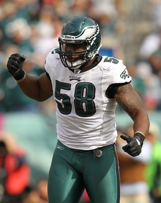 PHILADELPHIA - OCTOBER 17:  Trent Cole #58 of the Philadelphia Eagles celebrates a sack against Matt Ryan of the Atlanta Falcons during their game at Lincoln Financial Field on October 17, 2010 in Philadelphia, Pennsylvania.  (Photo by Al Bello/Getty Imag