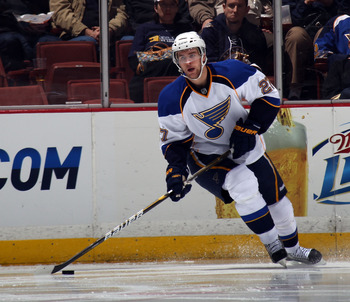 ANAHEIM, CA - JANUARY 12: Alex Pietrangelo #27 of the St. Louis Blues skates against the Anaheim Ducks at the Honda Center on January 12, 2011 in Anaheim, California.  (Photo by Bruce Bennett/Getty Images)