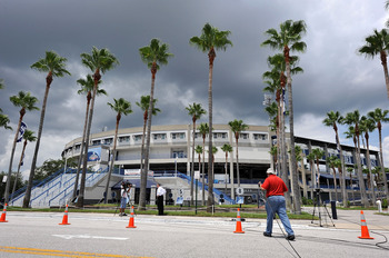 TAMPA, FL - JULY 13:   Television news crews set up outside of George M. Steinbrenner Field, after the death of George Steinbrenner on July 13, 2010 in Tampa, Florida. Blish is a New York native who says Steinbrenner's greatest contributions were the ones