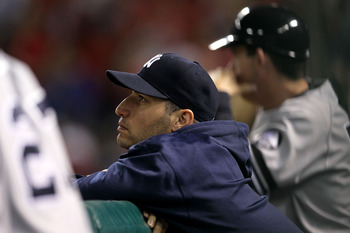 ARLINGTON, TX - OCTOBER 22:  Andy Pettitte #46 of the New York Yankees looks on from the dugout late in the game against the Texas Rangers in Game Six of the ALCS during the 2010 MLB Playoffs at Rangers Ballpark in Arlington on October 22, 2010 in Arlingt