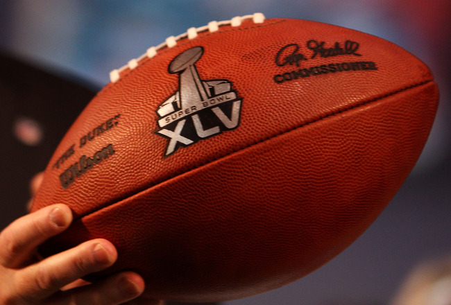 FORT LAUDERDALE, FL - FEBRUARY 04:  A football with the new Super Bowl logo is unveiled during a press conference held at the Fort Lauderdale Convention Center as part of media week for Super Bowl XLIV on February 4, 2010 in Fort Lauderdale, Florida.  (Ph