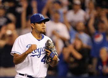 KANSAS CITY, MO - AUGUST 13:  Pitcher Joakim Soria #48 of the Kansas City Royals pumps his fist  after the Royals defeated the New York Yankees 4-3 to win the game on August 13, 2010 at Kauffman Stadium in Kansas City, Missouri.  (Photo by Jamie Squire/Ge