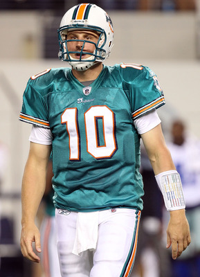 ARLINGTON, TX - SEPTEMBER 02:  Quarterback Chad  Pennington #10 of the Miami Dolphins walks off the field against the Dallas Cowboys during a preseason game at Cowboys Stadium on September 2, 2010 in Arlington, Texas.  (Photo by Ronald Martinez/Getty Imag