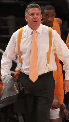 NEW YORK - NOVEMBER 26: Head coach of the Tennessee Volunteers Bruce Pearl on the sideline against the Villanova Wildcats  during the Championship game at Madison Square Garden on November 26, 2010 in New York City.  (Photo by Nick Laham/Getty Images)