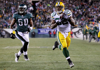 PHILADELPHIA, PA - JANUARY 09:  Brandon Jackson #32 of the Green Bay Packers scores a touchdown in the third quarter against the Philadelphia Eagles during the 2011 NFC wild card playoff game at Lincoln Financial Field on January 9, 2011 in Philadelphia,