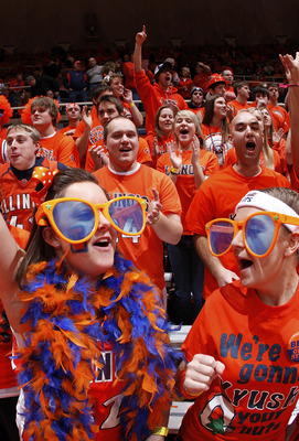 CHAMPAIGN, IL - JANUARY 22: Illinois Fighting Illini fans cheer during the game against the Ohio State Buckeyes at Assembly Hall on January 22, 2011 in Champaign, Illinois. Ohio State won 73-68. (Photo by Joe Robbins/Getty Images)