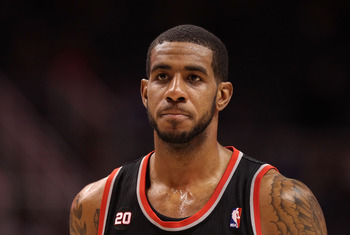 PHOENIX, AZ - JANUARY 14:  LaMarcus Aldridge #12 of the Portland Trail Blazers in action during the NBA game against the Phoenix Suns at US Airways Center on January 14, 2011 in Phoenix, Arizona. The Suns defeated the Trail Blazers 115-111. NOTE TO USER: