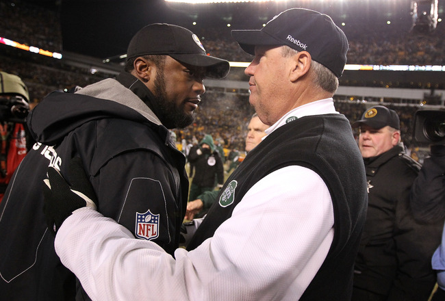 PITTSBURGH, PA - JANUARY 23:  Head coach Mike Tomlin of the Pittsburgh Steelers and head coach Rex Ryan of the New York Jets shake hands after the Steelers defeated the Jets 24 to 19 in the 2011 AFC Championship game at Heinz Field on January 23, 2011 in