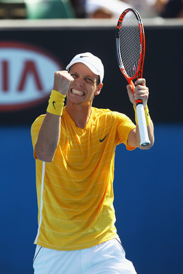 MELBOURNE, AUSTRALIA - JANUARY 21:  Tomas Berdych of Czech Republic celebrates in his third round match against Richard Gasquet of France during day five of the 2011 Australian Open at Melbourne Park on January 21, 2011 in Melbourne, Australia.  (Photo by