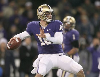 SEATTLE - DECEMBER 05: Quarterback Jake Locker #10 of the Washington Huskies passes the ball against the California Bears on December 5, 2009 at Husky Stadium in Seattle, Washington. The Huskies defeated the Bears 42-10. (Photo by Otto Greule Jr/Getty Ima