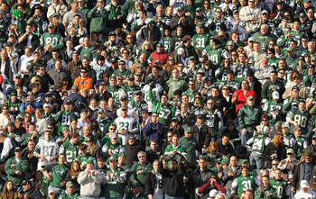EAST RUTHERFORD, NJ - NOVEMBER 21:  Fans of the New York Jets cheer against the Houston Texans during their  game on November21, 2010 at the New Meadowlands Stadium  in East Rutherford, New Jersey.  (Photo by Al Bello/Getty Images)