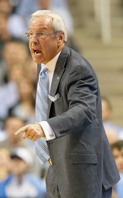 GREENSBORO, NC - DECEMBER 18:  Head coach Roy Williams of the North Carolina Tar Heels yells to an official during the game against the Texas Longhorns at Greensboro Coliseum on December 18, 2010 in Greensboro, North Carolina.  (Photo by Kevin C. Cox/Gett