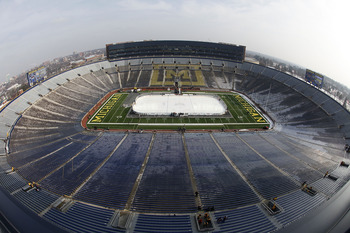 ANN ARBOR, MI - DECEMBER 11: A general view prior to the start of the Big Chill game between the Michigan State Spartans and Michigan Wolverines at Michigan Stadium on December 11, 2010 in Ann Arbor, Michigan.  (Photo by Leon Halip/Getty Images)