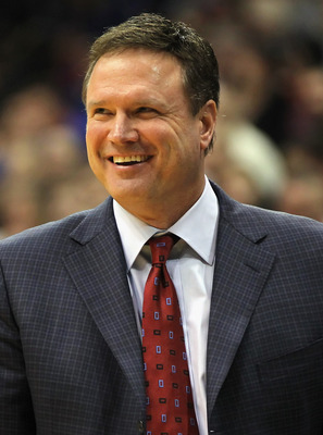 LAWRENCE, KS - DECEMBER 29:  Head coach Bill Self of the Kansas Jayhawks reacts from the bench during the game against the University of Texas Arlington Mavericks on December 29, 2010 at Allen Fieldhouse in Lawrence, Kansas.  (Photo by Jamie Squire/Getty