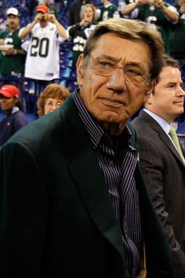 INDIANAPOLIS - JANUARY 24:  Joe Namath, former Jets quarterback, looks on from the sidelines before  the New York Jets take on the Indianapolis Colts during the AFC Championship Game at Lucas Oil Stadium on January 24, 2010 in Indianapolis, Indiana.  (Pho