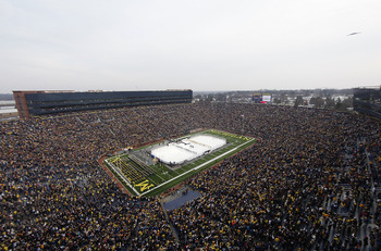 ANN ARBOR, MI - DECEMBER 11:  A general view prior to the start of the Big Chill game between the Michigan State Spartans and Michigan Wolverines as a B-2 Stealth bomber makes a fly over after the natonal anthem at Michigan Stadium on December 11, 2010 in