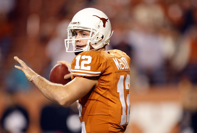 AUSTIN, TX - NOVEMBER 21:  Quarterback Colt McCoy #12 of the Texas Longhorns drops back to pass against the Kansas Jayhawks at Darrell K Royal-Texas Memorial Stadium on November 21, 2009 in Austin, Texas.  (Photo by Ronald Martinez/Getty Images)