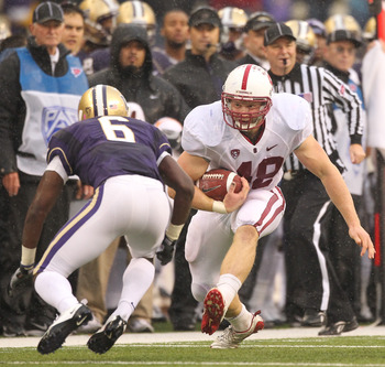 SEATTLE - OCTOBER 30:  Running back Owen Marecic #48 of the Stanford Cardinal rushes against Desmond Trufant #6 of the Washington Huskies on October 30, 2010 at Husky Stadium in Seattle, Washington. Stanford won 41-0. (Photo by Otto Greule Jr/Getty Images