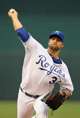 KANSAS CITY, MO - AUGUST 13:  Starting pitcher Kyle Davies #34 of the Kansas City Royals warms up just prior to the start of the game against the New York Yankees on August 13, 2010 at Kauffman Stadium in Kansas City, Missouri.  (Photo by Jamie Squire/Get