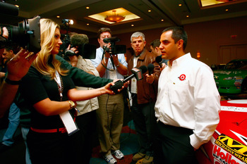 CHARLOTTE, NC - JANUARY 24: Juan Pablo Montoya, driver of the #42 Target Chevrolet, speaks with the media during the NASCAR Sprint Media Tour hosted by Charlotte Motor Speedway, held at Hilton University on January 24, 2011 in Charlotte, North Carolina. (