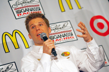 CHARLOTTE, NC - JANUARY 24: Jamie McMurray, driver of the #1 McDonald's Chevrolet, speaks to the media during the NASCAR Sprint Media Tour hosted by Charlotte Motor Speedway, held at Hilton University on January 24, 2011 in Charlotte, North Carolina. (Pho