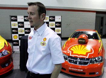 MOORESVILLE, NC - JANUARY 24: Kurt Busch, driver of the #22 Shell/Pennzoil Dodge, speaks to the media during the NASCAR Sprint Media Tour hosted by Charlotte Motor Speedway, held at Penske Racing on January 24, 2011 in Mooresville, North Carolina. (Photo