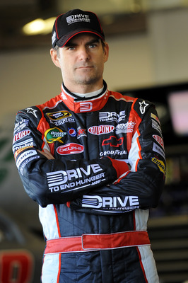 DAYTONA BEACH, FL - JANUARY 22:  Jeff Gordon, driver of the #24 Dupont Chevrolet, waits in the garage during practice at Daytona International Speedway on January 22, 2011 in Daytona Beach, Florida.  (Photo by Jared C. Tilton/Getty Images for NASCAR)