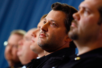 CHARLOTTE, NC - JANUARY 24:  Tony Stewart, driver of the #14 Office Depot Chevrolet, looks on during the NASCAR Sprint Media Tour hosted by Charlotte Motor Speedway, held at Stewart-Haas Racing on January 24, 2011 in Concord, North Carolina.  (Photo by Ja