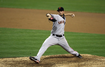 SAN DIEGO, CA - SEPTEMBER 10:  Starting Pitcher Jonathan Sanchez #57 of the San Francisco Giants throws from the mound against the San Diego Padres during their MLB game on September 10, 2010 at Petco Park in San Diego, California. (Photo by Donald Mirall