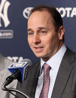 NEW YORK, NY - JANUARY 19:  General manager Brian Cashman of the New York Yankees speaks during a press conference introducing Rafael Soriano (not pictured) on January 19, 2011 at Yankee Stadium in the Bronx borough of New York City. The Yankees signed So