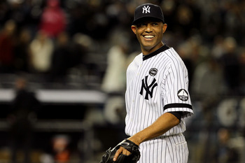 NEW YORK - OCTOBER 09:  Mariano Rivera #42 of the New York Yankees smiles after the Yankees won 6-1 against the Minnesota Twins during Game Three of the ALDS part of the 2010 MLB Playoffs at Yankee Stadium on October 9, 2010 in the Bronx borough of New Yo