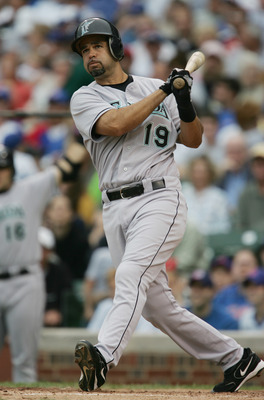 CHICAGO - JUNE 15:  Mike Lowell #19 of the Florida Marlins at bat against the Chicago Cubs on June 15, 2005 at Wrigley Field in Chicago, Illinois. The Marlins defeated the Cubs 15-5. (Photo by Jonathan Daniel/Getty Images)