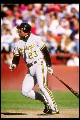 16 Jun 1991:  Third baseman Bobby Bonilla of the Pittsburgh Pirates watches his shot during a game against the San Francisco Giants at Candlestick Park in San Francisco, California. Mandatory Credit: Otto Greule  /Allsport