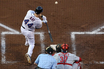 NEW YORK - JULY 05:  Jason Bay #44 of the New York Mets connects on a first inning RBI single against the Cincinnati Reds on July 5, 2010 at Citi Field in the Flushing neighborhood of the Queens borough of New York City.  (Photo by Jim McIsaac/Getty Image