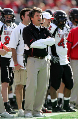 DALLAS - JANUARY 2:  Head coach Mike Leach of the Texas Tech Red Raiders during play against the Alabama Crimson Tide during the AT&amp;T Cotton Bowl on January 2, 2006 at the Cotton Bowl in Dallas, Texas. The Crimson Tide defeated the Red Raiders 13-10.  (Ph